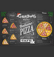 vintage chalk drawing christmas pizza menu design vector image vector image