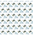 Watercolor Bumblebees and Dragonfly seamless vector image vector image