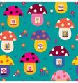 cute animals in mushroom houses kids pattern vector image