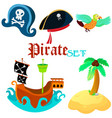 set of pirate objects - vector image