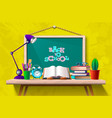 table with books and supplies vector image