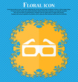 3d glasses icon Floral flat design on a blue vector image