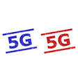 5g stamps with corroded texture and parallel lines vector image vector image