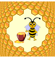 A cute cartoon bee with a honey pot vector image vector image