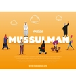 Arabian mussulman banner with people vector image