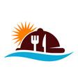 beach restaurant logo design template vector image vector image