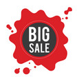 big sale black circle frame red background vector image