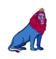 Blue lion sitting wearing tiara crown etching
