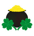coins and clover the symbol of st patrick s day vector image