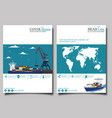 commercial sea shipping banner set vector image