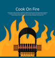 cook on fire poster with meat skewers on grill vector image vector image