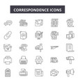 correspondence line icons for web and mobile vector image vector image