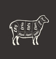 cut lamb meat drawn on blackboard menu for vector image
