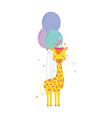cute and little giraffe with party hat and vector image
