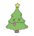 dead funny christmas tree cartoon character vector image