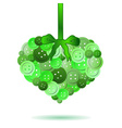 decorative heart from green colors buttons eps10 vector image vector image