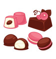 delicious cakes soft muffins and crispy macaroons vector image