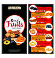 dried fruit superfood nutrition facts banner set vector image
