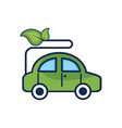 ecologycal car with leaves to environment care vector image