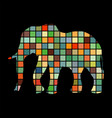 elephant mammal color silhouette animal vector image
