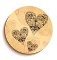 ethnic wooden plate with hearts isolated on white vector image vector image