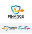 finance shield logo design vector image vector image
