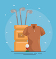 golf bag and clubs icons vector image