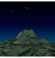 Green Mountain low polygon landscape night vector image