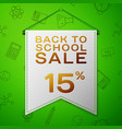 grey pennant back to school sale fifteen percent vector image vector image