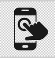 hand touch smartphone icon in transparent style vector image vector image