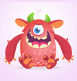happy cartoon fluffy monster character vector image vector image