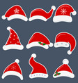 happy new year and merry christmas set of nine vector image