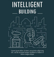 intelligent building banner outline style vector image vector image