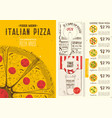 italian pizza menu template vector image