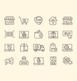 large set line drawn shopping and store icons vector image vector image