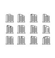 line perspective company icons and buildings set vector image vector image