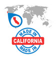 made in california america usa stamp world map vector image