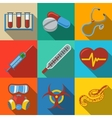 Medicine and health care colorful flat icons set vector image