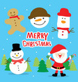 merry christmas santa and snowman cartoon vector image vector image