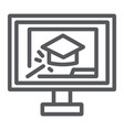 online training line icon education and study vector image vector image