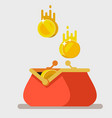 opened purse with gold coins raining to open vector image