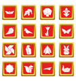 origami icons set red square vector image