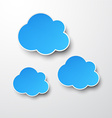 Paper blue clouds on white vector image vector image