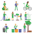 people volunteers cartoon characters contributing vector image