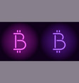 purple and violet neon bitcoin sign vector image vector image
