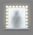 realistic makeup mirror glass in bulbs frame with vector image