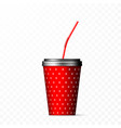 red paper cup with black lid and red straw on vector image