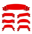 Red ribbon blank set banners old style vector image