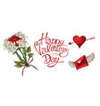 red roses hearts and other elements hand drawn vector image vector image