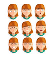 redhead girl with emotional face set female vector image